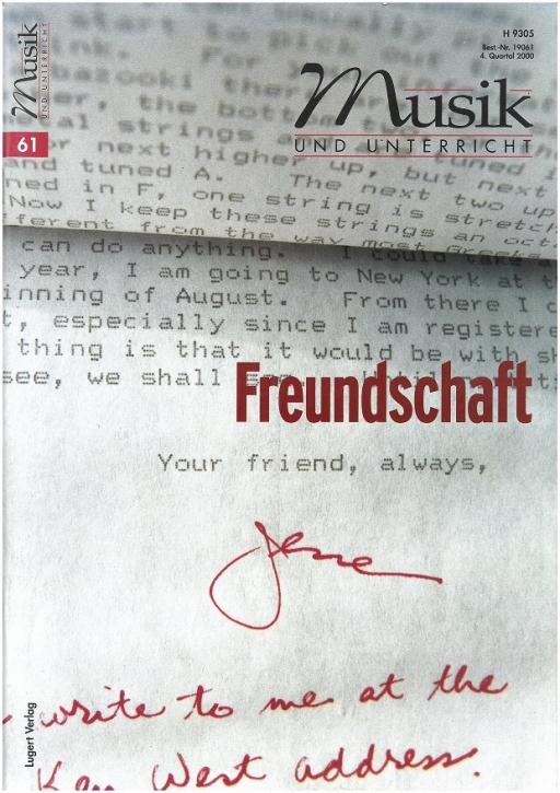 Musik und Unterricht Heft 61. Freundschaft.