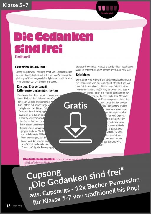 """Gratis-Download: Cupsong """"Die Gedanken sind frei"""" (aus: Cupsongs für die Unterstufe)"""