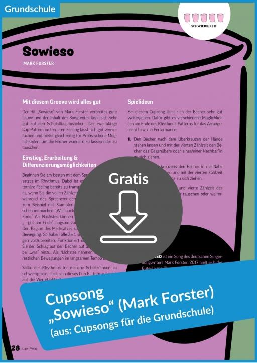 """Gratis-Download: Cupsong """"Sowieso"""" von Mark Forster (aus: Cupsongs für die Grundschule)"""