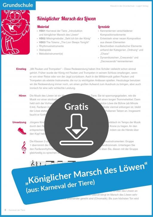Gratis-Download: Königlicher Marsch des Löwen (aus: Karneval der Tiere)