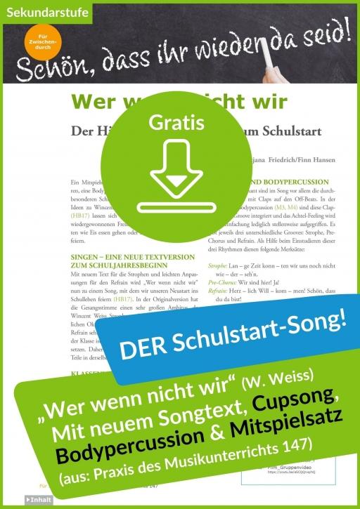 """Gratis-Download: Schulstart-Song """"Wer wenn nicht wir"""" (aus der PdM Ausgabe 147)"""