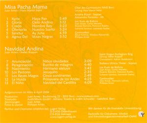 Misa Pacha Mama / Navidad Andina, Original-CD