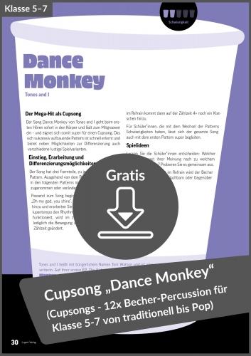 "Gratis-Download: Cupsong ""Dance Monkey"" (aus: Cupsongs für die Unterstufe)"