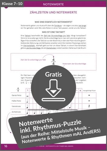 """Gratis-Download: Kapitel """"Einfache Rhythmen Lesen und Notieren"""" aus """"Notenwerte & Rhythmen mal anders"""""""