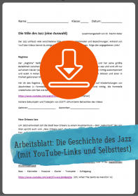 Gratis-Download: Unterrichtsmaterial zur Geschichte des Jazz (Arbeitsblatt)